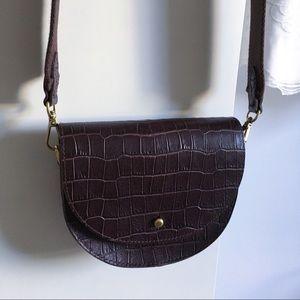 Madewell Richmond Saddle Bag Croc Embossed Leather